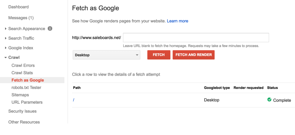 Google fetch for SEO