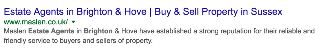 title tags for estate agents homepage